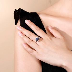 Image 2 - 보석 발레 2.57ct 자연 블루 사파이어 925 스털링 실버 반지 여성을위한 훌륭한 보석 보석 결혼 약혼 반지