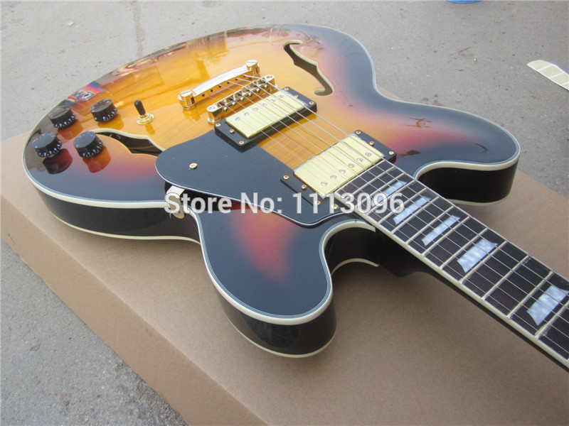 Electric guitar FREE SHIPPING electric guitar/hollow jazz guitar+maple flame top