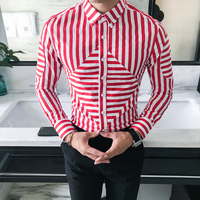 High Quality Men Striped Shirt Fashion 2018 Spring New Korean Slim Fit Social Shirts Male Long