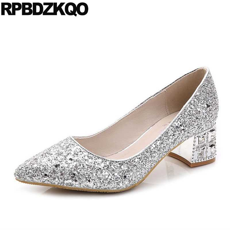 Silver Bling Bridal Thick Crystal Medium Shoes Glitter Pumps Size 4 34 10  42 Pointed Toe 16db825e36a4