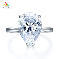 Peacock Star Solid 925 Sterling Silver Luxury Ring Solitaire Pear 4 5 Carat Wedding Engagement Party