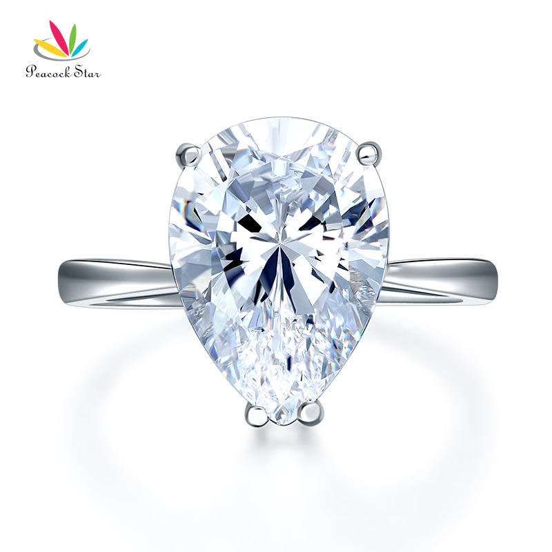 Peacock Star Solid 925 Sterling Silver Luxury Ring Solitaire Pear 4.5 Carat Wedding Engagement Party Pageant Jewelry CFR8306 peacock star 1 carat 2 pcs wedding engagement sterling solid 925 silver ring set jewelry cfr8029