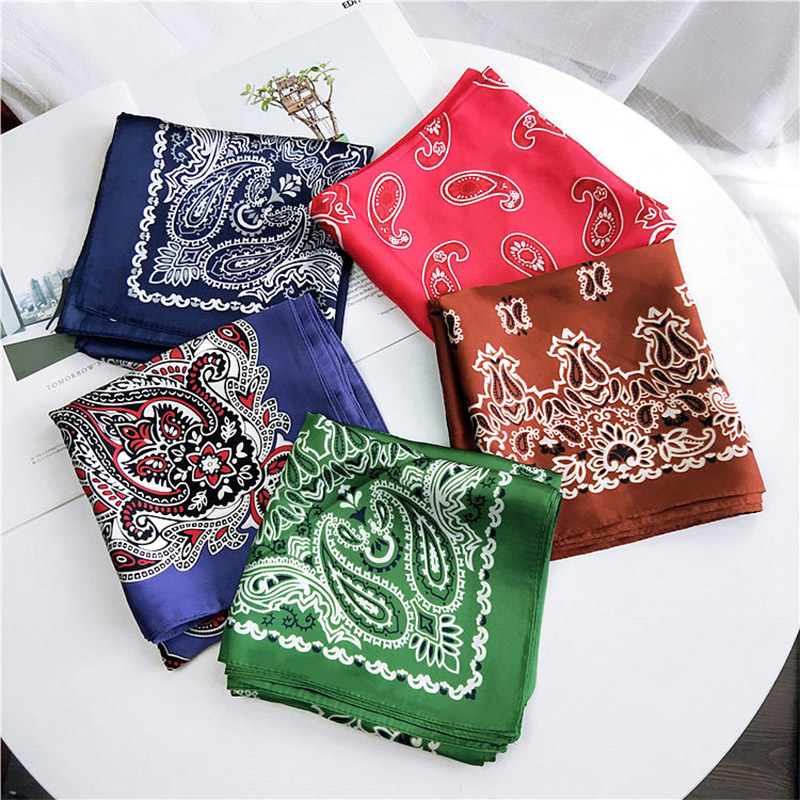 Fashion Small   Scarf   For Women Elegant Retro Satin Hijab Scarfs   Wraps   Female 70Cm*70Cm Square   Scarves   Kerchief Hair Tie Headband