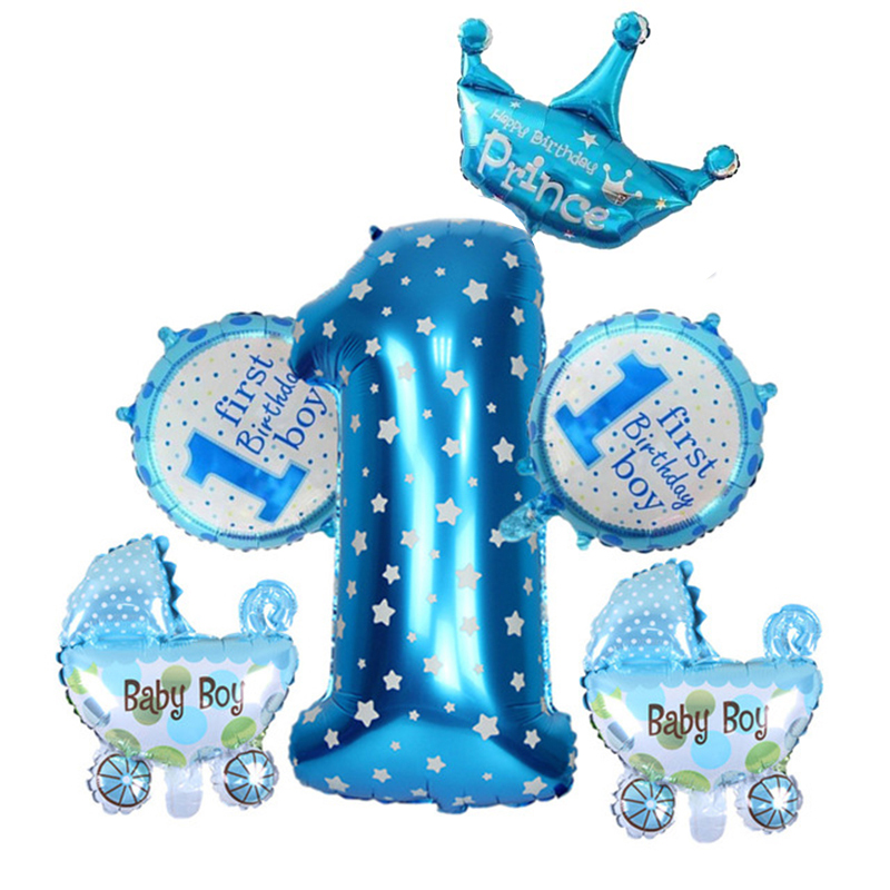 1st Birthday Set Party Foil Helium Balloons For Baby Shower Boy Girl