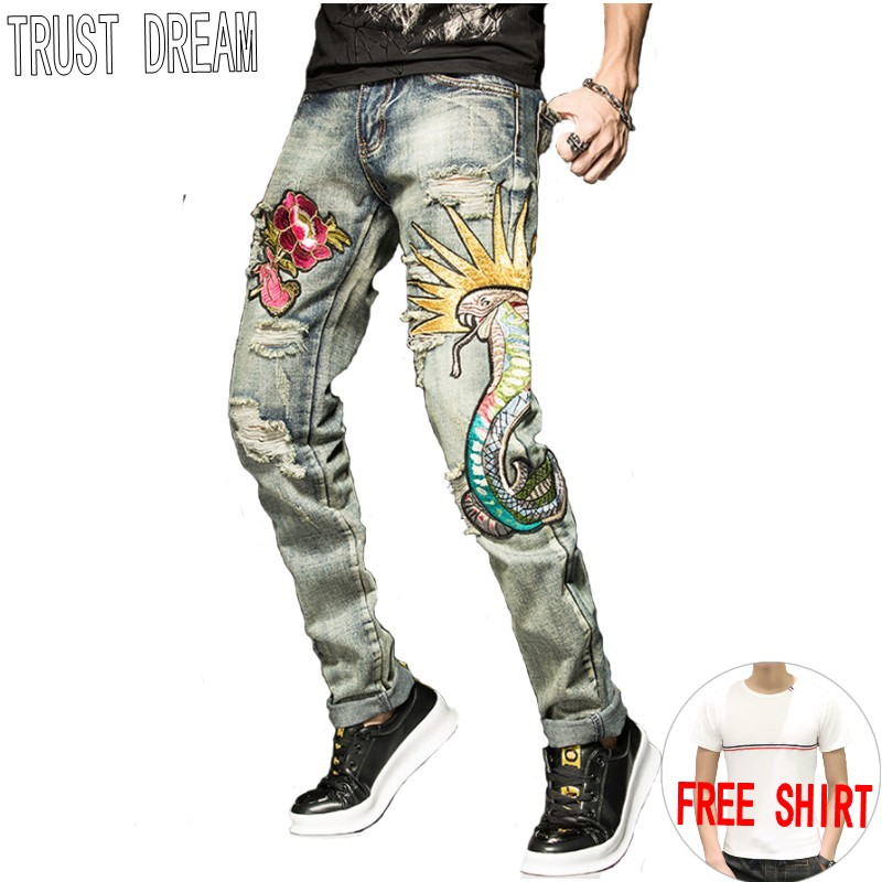 TRUST DREAM Europeans Style Men hEmbroidery Rose Snake Slim Jean Casual Distressed Ripped Hole Man Persoanal Quality Jeans l jean camp trust