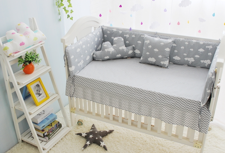 New Arrivel Clouds Newborn Baby Cot BeddingComfortable Boy Crib Bedding SetBaby Bed Liner BumperCrib Mattress Quilt In Sets From Mother