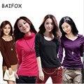 BAIFOX 2017 Moda de Alta Qualidade Primavera Outono Inverno Camisola de Gola Alta De Lã Mulheres Pullovers Plus Size Sólidos Camisolas das Mulheres