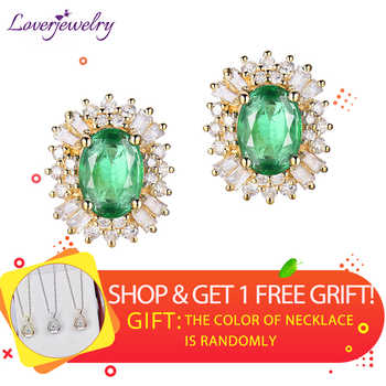 LOVERJEWELRY Fashion Emerald Earrings For Women Real 18k Yellow Gold 1.48ct Natural Emerald Gemstone Diamonds Lady Earrings Gift - DISCOUNT ITEM  0% OFF All Category