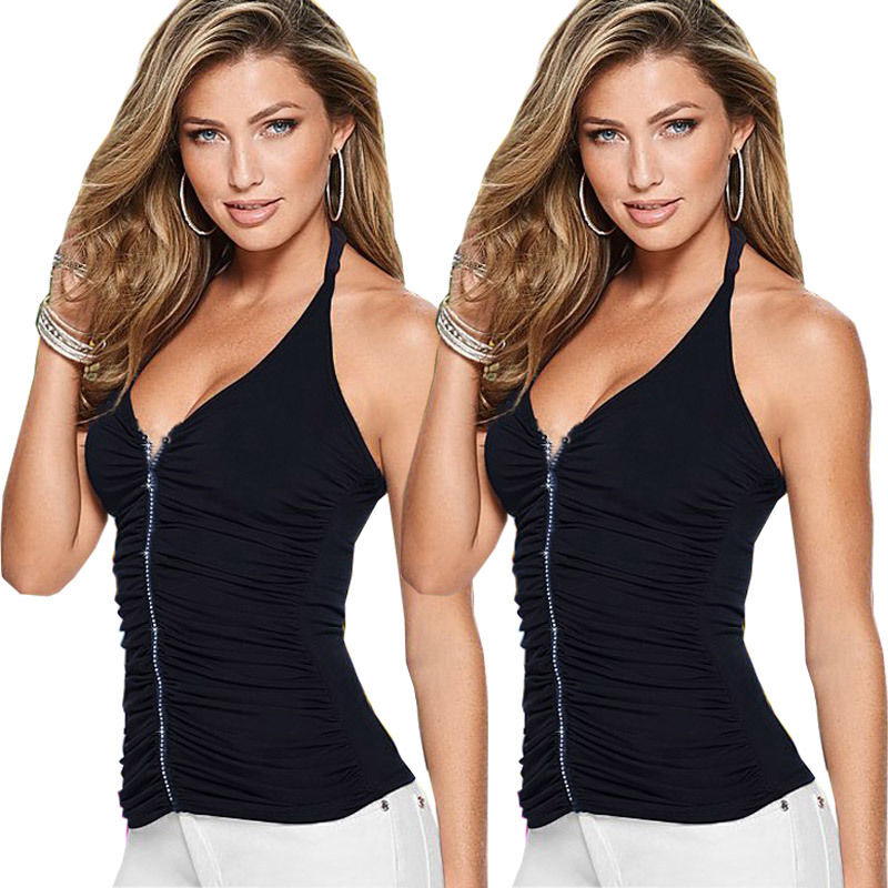 2016 Women Summer Vest Top Sleeveless Shirts Blouse Casual V Neck Dark Blue Halter Tank Tops Women LADY Clothing Summer
