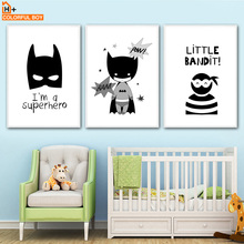 COLORFULBOY Batman Boy Canvas Painting Wall Art Print Black White Posters And Prints Pictures Nordic Style Kids Decoration