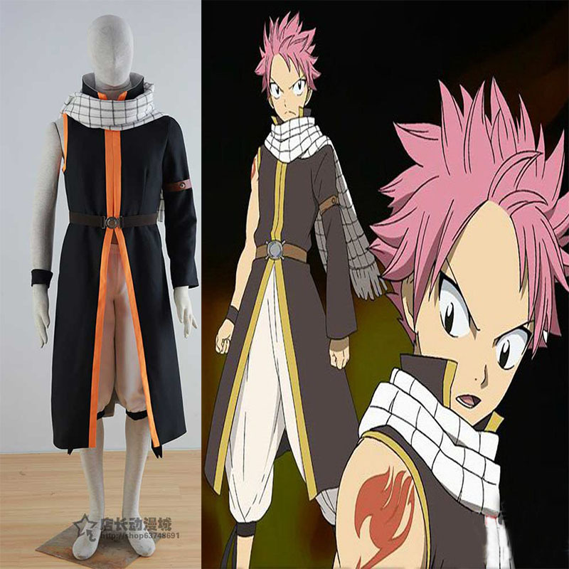 Fairy Tail Anime Cos Etherious Natsu Dragneel Cosplay END Anime Unisex Costume 5 in 1 coat+pants+scarf+belt+wrist band