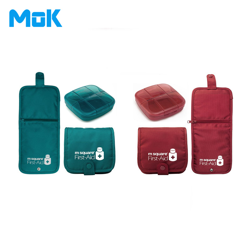 High Quality Portable Plastic Pill Case and Bag Convenient Square Medical Kit with Bag Travel Emergency First Aid Kit 1 Set
