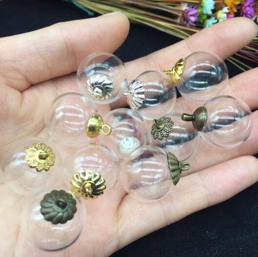 100 sets 18 ملليمتر الزجاج الكرة متمنيا زجاجة مع غطاء معدني فارغة حاويات ، فقاعات العالم سترة قلادة قلادة diy مجوهرات سحر