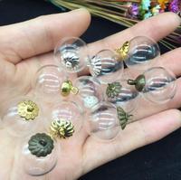 100 sets 18mm Sfera di Vetro che desiderano Bottiglia Con Tappo In Metallo Contenitori Vuoti, Bubbles globo maglione del pendente della collana gioielli fai da te fascino