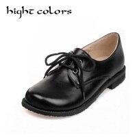 HIGHT COULEURS Nouveau Confortable Grand Bout Rond Plat Chaussures De Mode dentelle Up Noir de Travail Richelieus Chaussures Pour Femmes Étudiant Filles chaussures