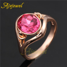Ajojewel Hot Pink Crystal Ladies Rings With Single Stone Woman Ring Size 8 7