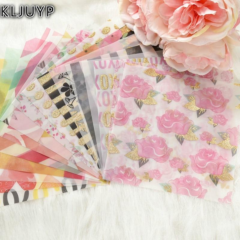 KLJUYP Belle Fleurs Motif Vélin Papier Découpes pour Scrapbooking Heureux Planificateur/Fabrication De Cartes/Journalisation Projet