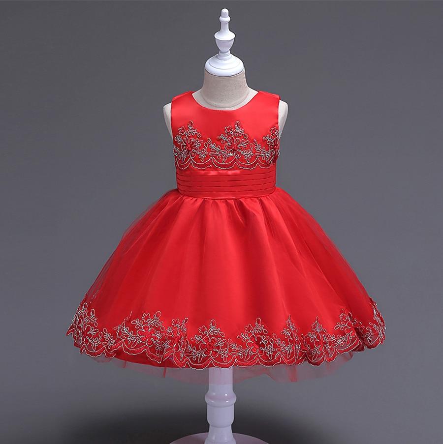 2017 New Baby Girl Dress Sleeveless Red/Blue Children Evening Princess Tutu Dress Christmas Girls Dresses For Party and Wedding