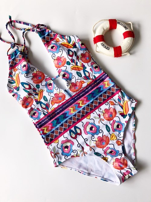 Heißer 2017 Frauen Blumen Printed One-Stück Bikinis Set Badeanzug Bademode Badeanzug Bademode Bikini
