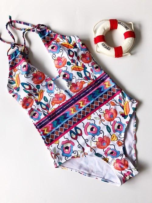Hot 2017 mujeres Floral impreso una pieza Bikinis conjunto traje de baño ropa de playa Bikini