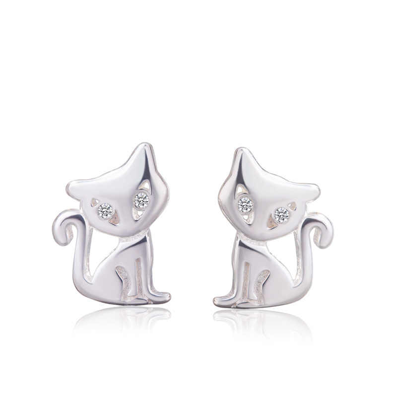 925 Sterling Silver Hypoallergenic Animals Cat Stud Earring for Women Girl Wedding Jewelry Brincos A188