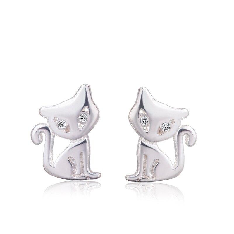 Женские гипоаллергенные серьги-гвоздики в виде кошки, из стерлингового серебра 925 пробы, свадебные украшения для девочек, A188