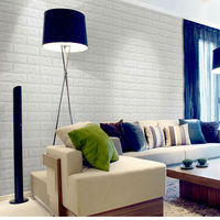 Modern Brief 3D Wall Stickers Wall Brick Pattern Self Adhesive Waterproof Anti Collision Wallpaper For Bedroom