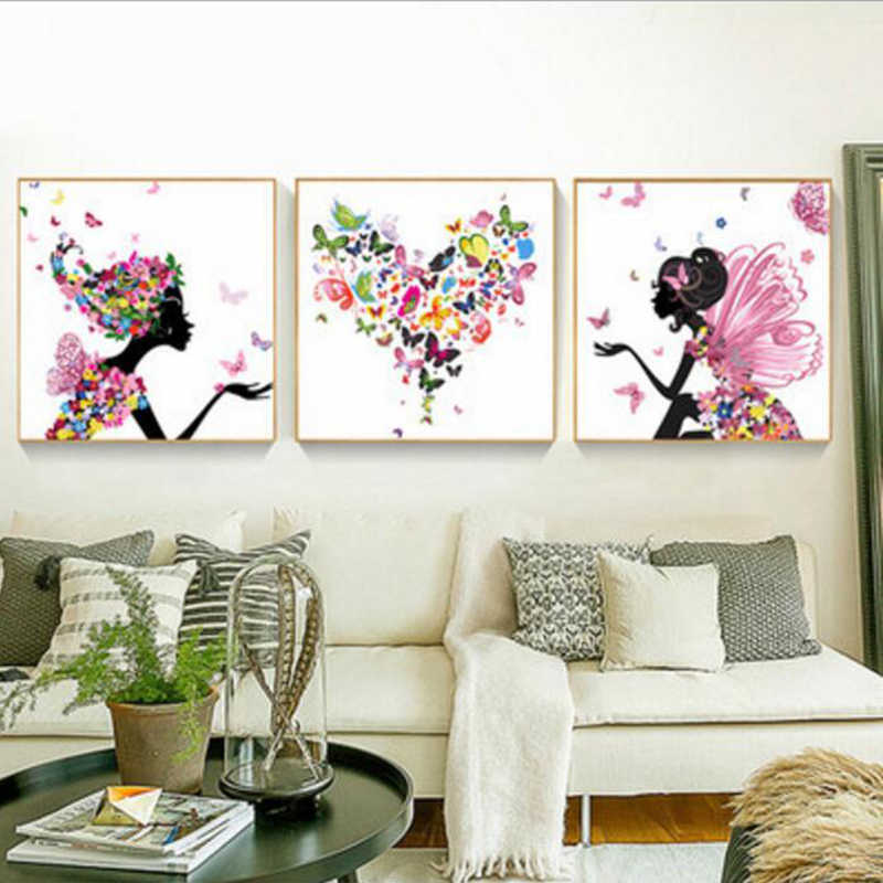 3 Pcs/Set Beautiful Women Flowers Landscape DIY Painting By Numbers Kits Coloring Paint By Numbers Modern Wall Art Picture Gift