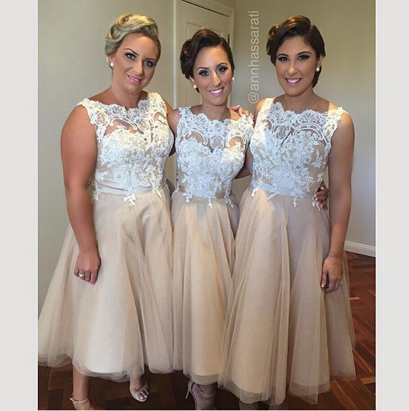 A Line Plus Size Champagne Bridesmaid Dresses