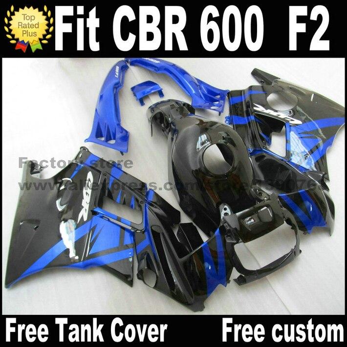 Plastic fit for HONDA CBR 600 F2 fairing kit 1991 1992 1993 1994 fairings black blue  CBR600 91 92 93 94 CV48