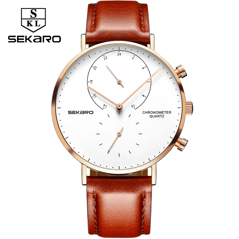 SEKARO Brand Men's Watch Waterproof Ultra Thin Clock Male Gift Quartz Watches Men Wrist Two Timing Watch Relogio Masculino top luxury brand men military waterproof rubber led sports watches men s clock male wrist watch relogio masculino 2017