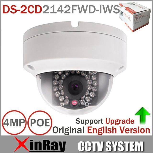 Original Atualizável HIK DS-2CD2142FWD-IWS 4MP Câmera de CCTV MINI Câmera Dome WI-FI Suporte de Áudio e Alarme I/O PoE IP câmera