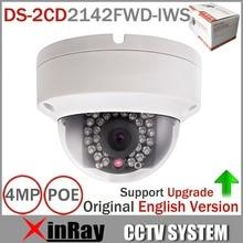 Оригинальный обновляемых hik 4MP камеры видеонаблюдения DS-2CD2142FWD-IWS Мини Wi-Fi купольная камера Поддержка аудио и Сигнализация ввода/вывода POE IP камера