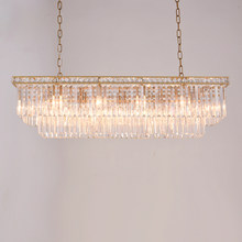 American gold rectangular crystal chandelier crystal frame antique creative luxury restaurant study crystal chandelier for home