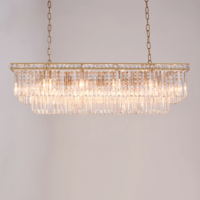 American gold rectangular crystal chandelier crystal frame antique american gold rectangular crystal chandelier crystal frame antique creative luxury restaurant study crystal chandelier for home aloadofball Image collections