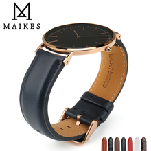 MAIKES High Quality Watch Strap Fashion Blue Belt With Silver/Rose Gold Clasp Fit For Band Accessories DW