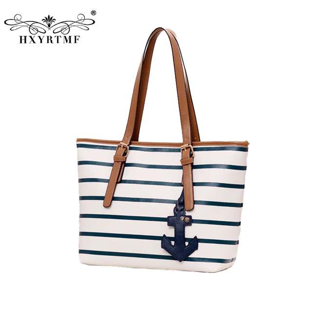 New Design Stripe British Navy Style Women Handbags Anchor Large Casual Tote Bags For S Shoulder