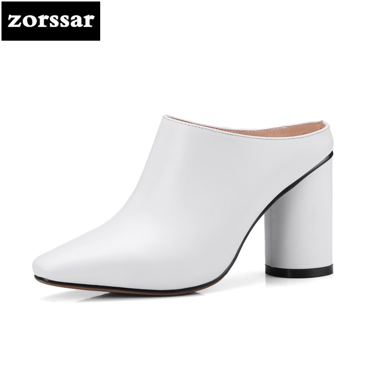 {Zorssar} 2018 Pointed toe women mules shoes Genuine Leather High heels slippers sandals Women Slides Summer Female Footwear flats slippers suede pink sandals mary jane genuine leather pointy summer slides designer shoes women luxury 2018 mules gray