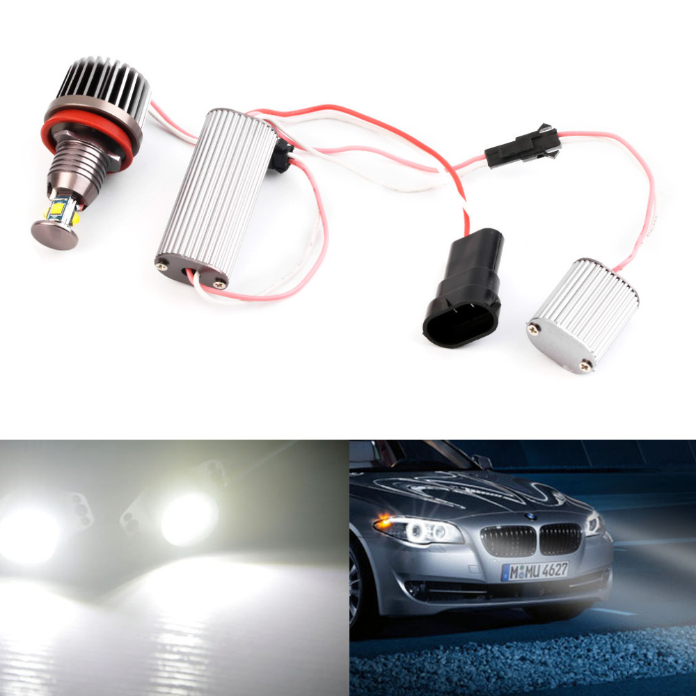 2Pcs LED Angel Eyes light 2*20W 750LM H8 Car LED HID For BMW E60 E61 E63 E64 E70 X5 E71 X6 E82 E87 E89 Z4 E90 E91 E92 E93