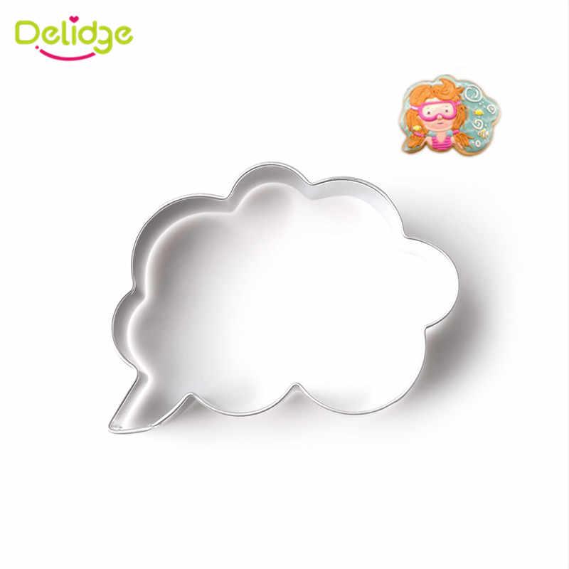 Delidge 1 قطعة الفولاذ المقاوم للصدأ مربع الحوار شكل قاطعة البسكوت ثلاثية الأبعاد البسكويت المعجنات فندان قالب الكعكة تزيين لتقوم بها بنفسك أدوات كعكة