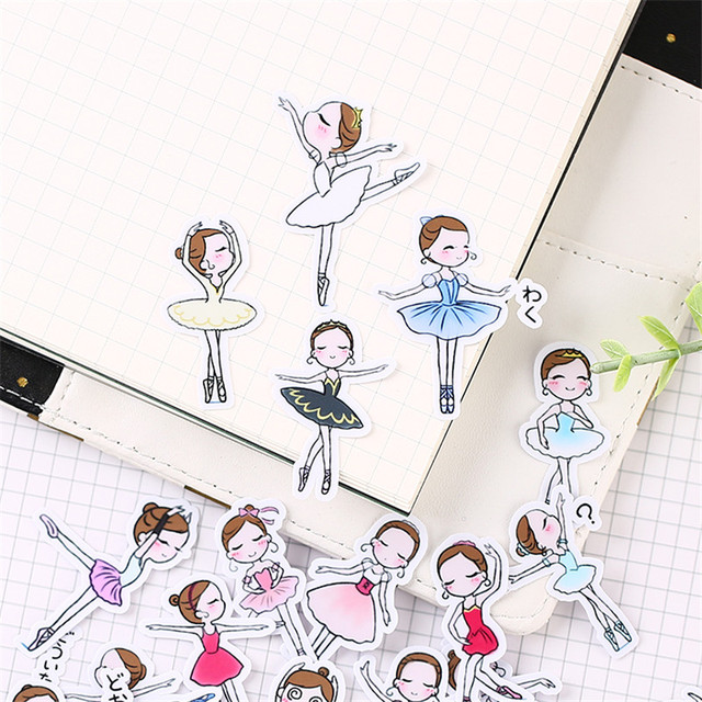 40 PCS Cartoon ballet student Paper  Sealing Stickers Crafts And Scrapbooking book Decorative sticker DIY Stationery