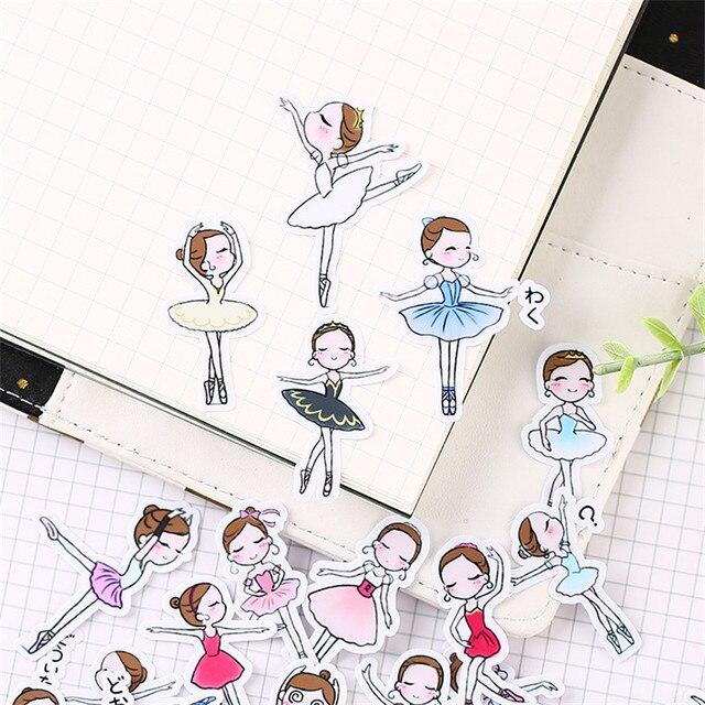 40 יחידות קריקטורה בלט תלמיד נייר איטום מדבקות מלאכות ספר דקורטיבי מדבקת DIY מכתבים