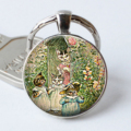 The Tale of Tom Kitten Keychain Cat Keyring Cat Cabochon Mother's Day Gift Glass Cat Jewelry Kitten Key Chain Ring
