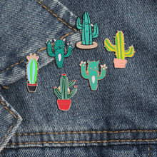 Fashionable Rainforest Cactus Collection Tree Green Plant Brooches For Women And Kids Wicked Ghost Strange Things Bag Metal Pins(China)