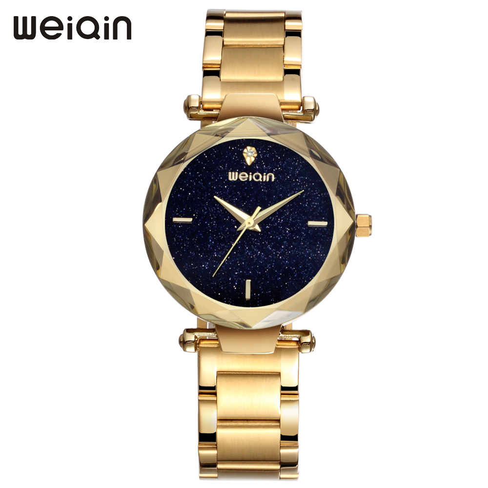 WEIQIN New Fashion Luxury Brand Watch Women Rose Gold Stainless Steel Quartz Ladies Watch Waterproof Wristwatch reloj mujer 2018 weiqin new 100