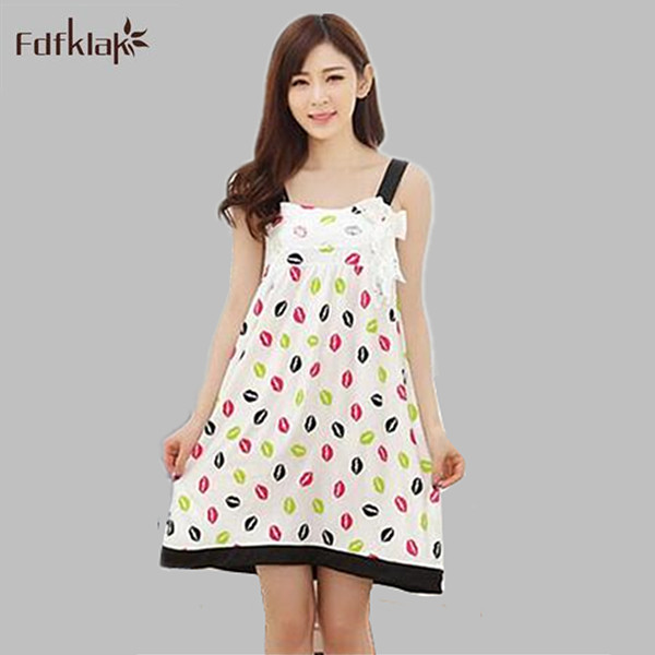 2d1d5f6786 2017 Summer dress girls cotton suspenders sexy nightgown female Korean print  night shirts sexy nightdresses for women S0061
