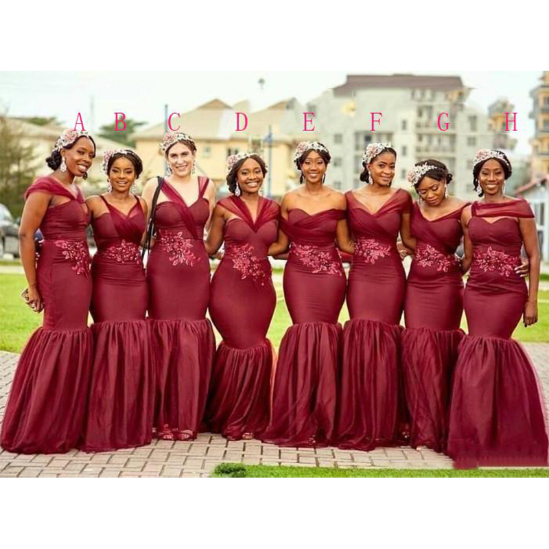 Simple Long Bridesmaid Dresses Mixed Styles Burgundy Lace Appliques Mermaid Formal Party Gown Plus Size