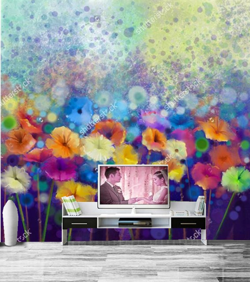 Custom vintage floral wallpaper,Abstract art flower wallpaper,hotel restaurant living room tv sofa wall bedroom papel de parede custom 3d murals cartoon wolf papel de parede hotel restaurant coffee shop living room sofa tv wall children bedroom wallpaper