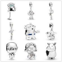 925 серебро пробы тонкие бусины сверкающий кулон с обезьяной Шарм Fit Pandora для создания браслетов женщин ювелирных изделий