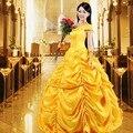 Красавица И Чудовище Взрослых Принцесса Белль Костюм Роскошные Костюмы для Женщин Фантазии Косплей Высокого Качества Невесты Dress BG6